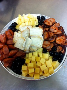 Apetizers: Cheese and Portuguese Chourico